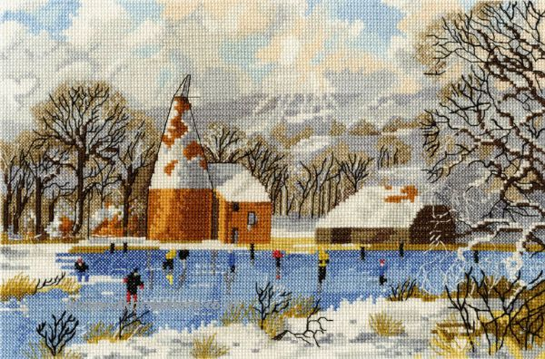 Skaters At Bough Beech Cross Stitch Kit